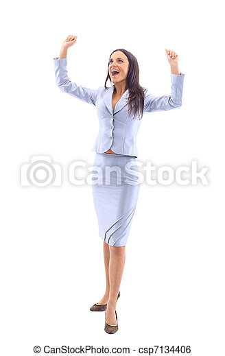 business woman has her hands up as she prays to God for the weekend or holiday - csp7134406