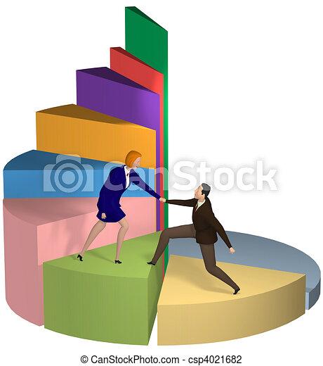 Business woman helping hand businessman up pie chart - csp4021682