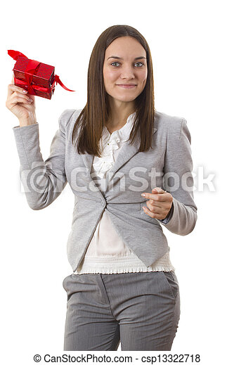 Business woman holding a gift - csp13322718