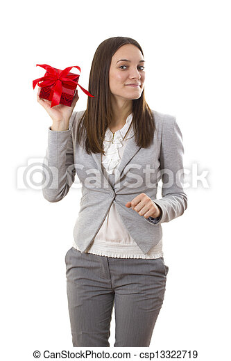 Business woman holding a gift - csp13322719