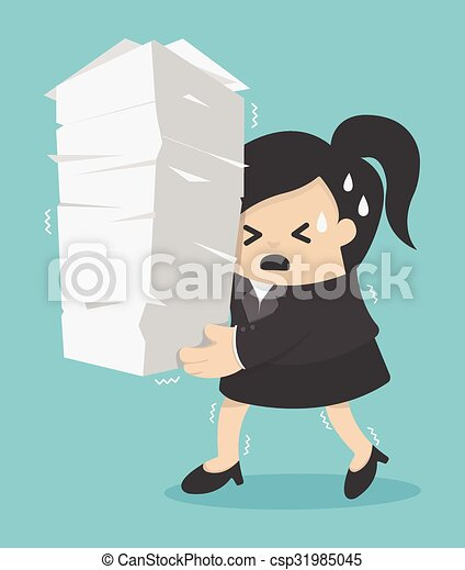 business woman holding a lot of documents - csp31985045