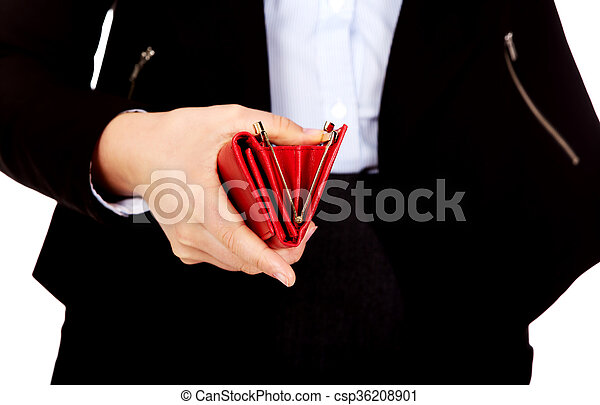 Business woman holding empty wallet - csp36208901