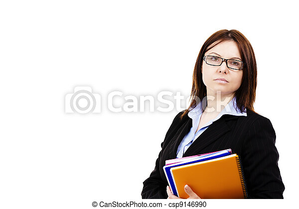 business woman holding pads of notepaper on white background - csp9146990