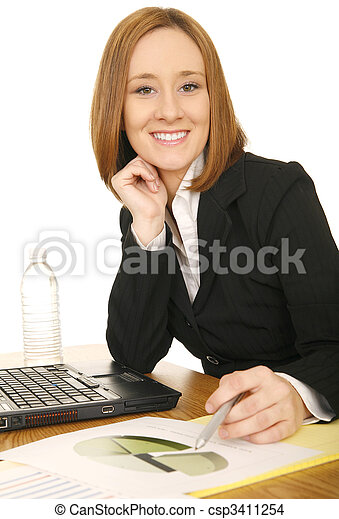 Business Woman Holding Pen - csp3411254