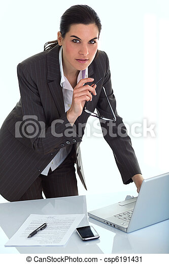 Business woman in an office  - csp6191431