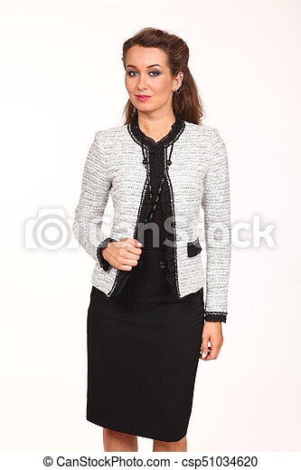 fdbb8c0200 Business woman in formal clothes isolated on white. Business woman ...