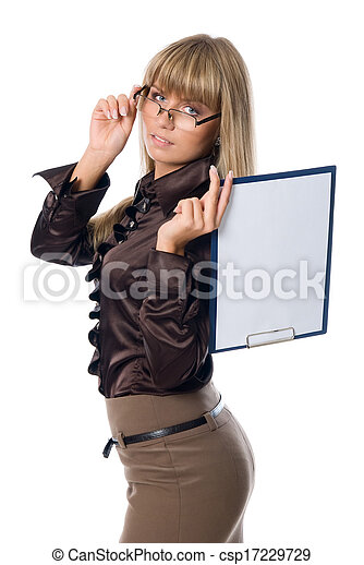 Business woman in glasses holding a clipboard with a blank sheet. Isolated on white background - csp17229729