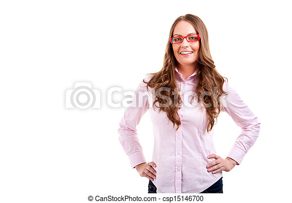 business woman in glasses - csp15146700