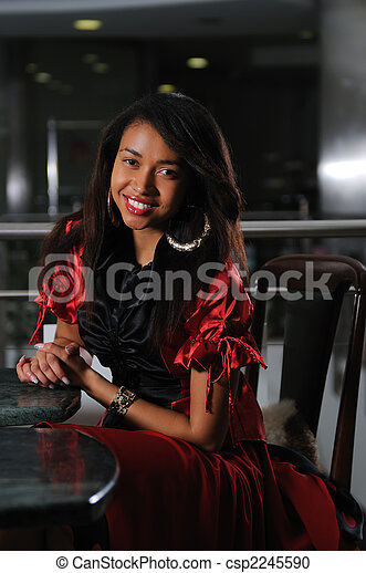 business woman in red dress smilling - csp2245590
