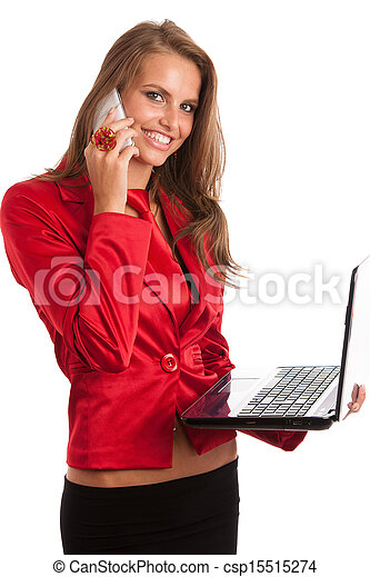 Business woman in red dress working on alptop - csp15515274