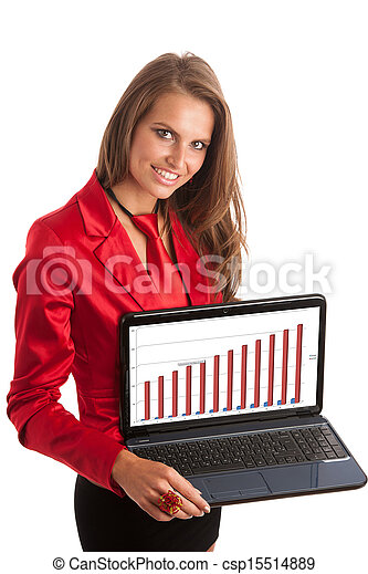 Business woman in red dress working on alptop - csp15514889