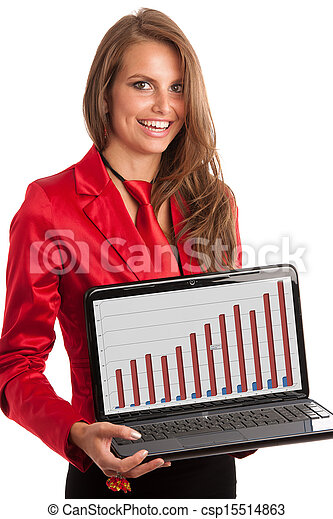Business woman in red dress working on alptop - csp15514863