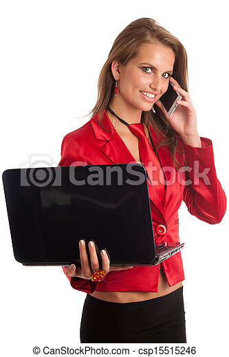 Business woman in red dress working on alptop - csp15515246