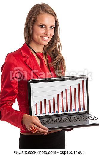 Business woman in red dress working on alptop - csp15514901