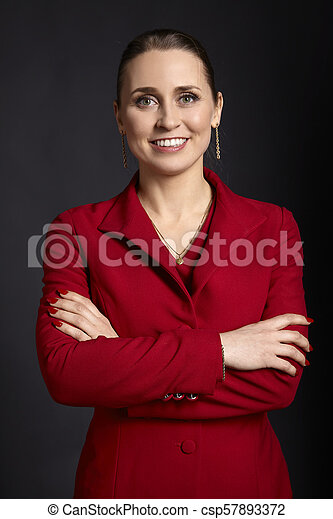 Business Woman in Red - csp57893372
