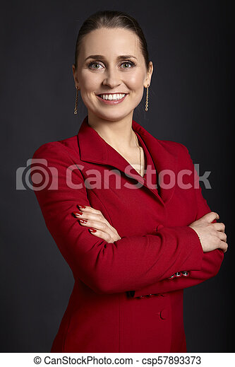 Business Woman in Red - csp57893373