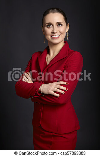 Business Woman in Red - csp57893383