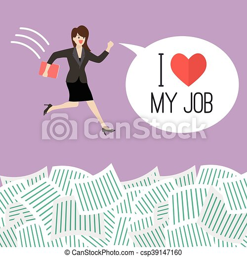 Business woman jump into a lot of documents with word I love my job - csp39147160