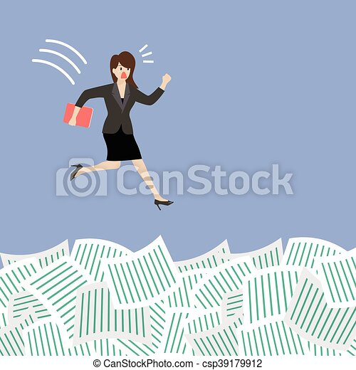 Business woman jump into a lot of documents - csp39179912