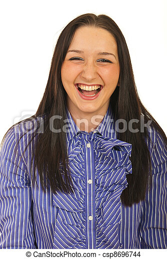 Business woman laughing out loud - csp8696744