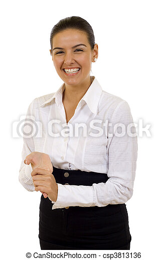 business woman laughing - csp3813136