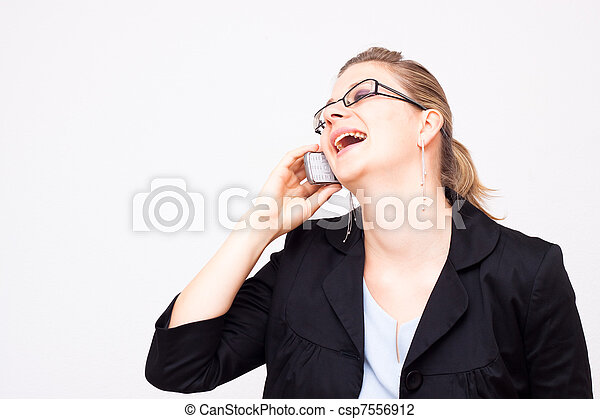 Business woman laughing - csp7556912