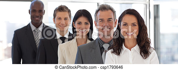 Business woman leading a business team - csp1793646