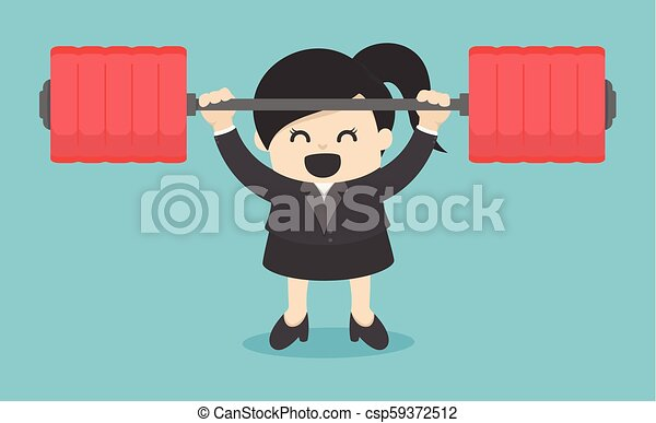 business woman lifting a heavy Power human. Man holding a dumbbell. Vector illustration - csp59372512