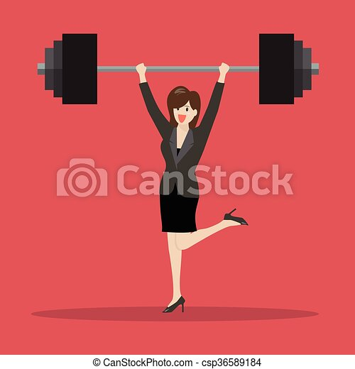 Business woman lifting a heavy weight - csp36589184