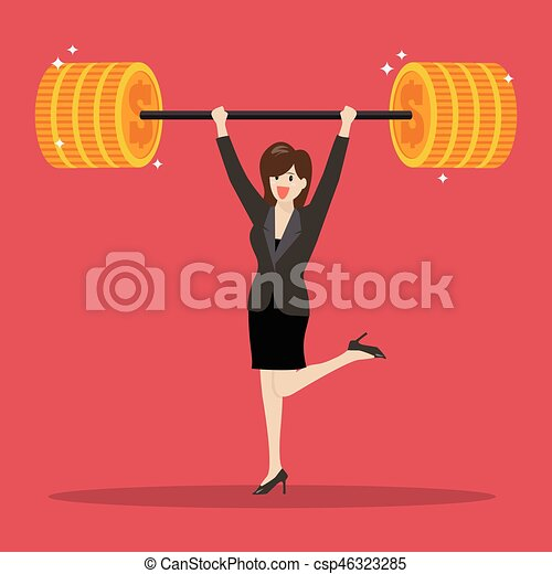 Business woman lifting a heavy weight - csp46323285