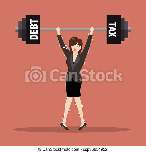 Business woman lifting a heavy weight of debt and tax - csp36654952