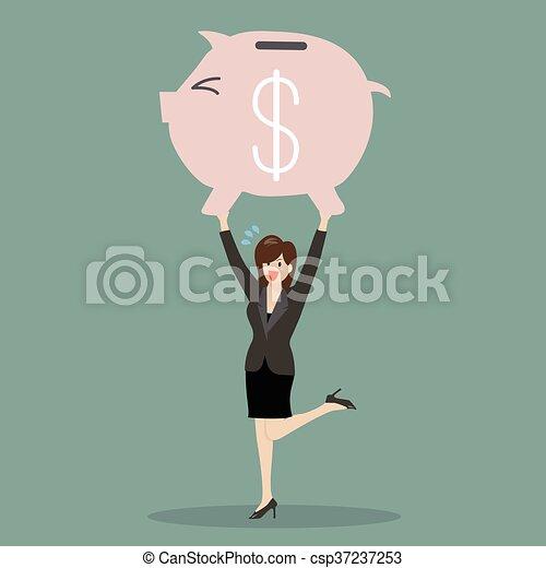 Business woman lifting a piggy bank - csp37237253