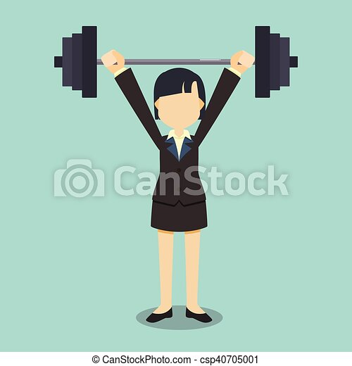 business woman lifting dumbbell - csp40705001