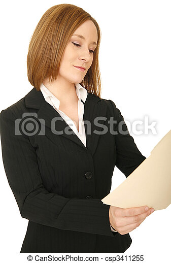 Business Woman Looking At Folder - csp3411255