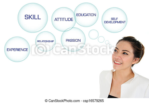 Business woman looking at self deve - csp16579265