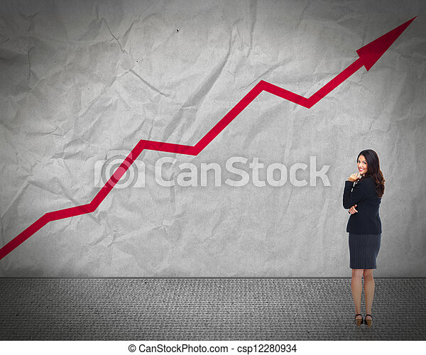 Business woman looking chart. - csp12280934