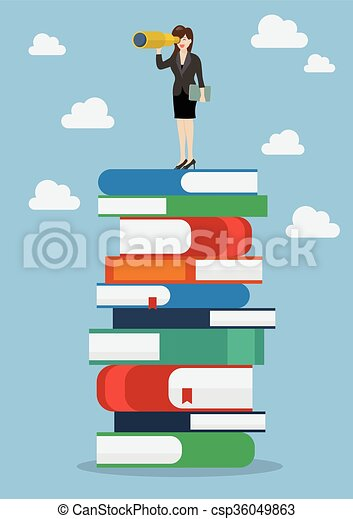 Business woman looking for future on a lot of books - csp36049863