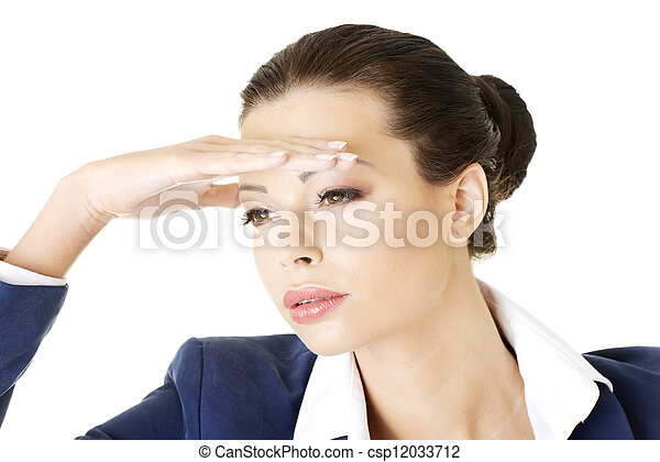 Business woman looking into the future - csp12033712