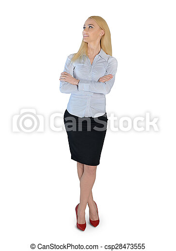Business woman looking up - csp28473555