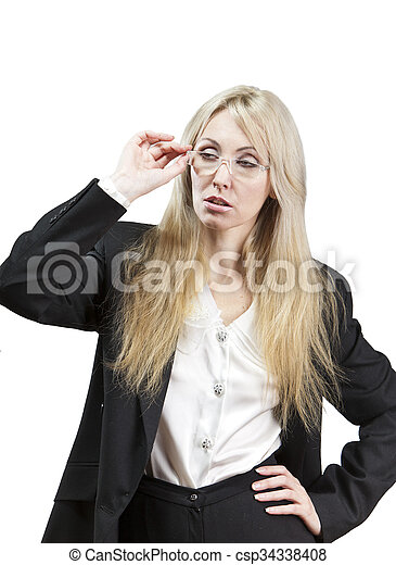 business woman looks through glasse - csp34338408