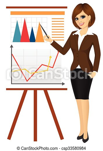 business woman making a presentation against graphics on vector rh canstockphoto com