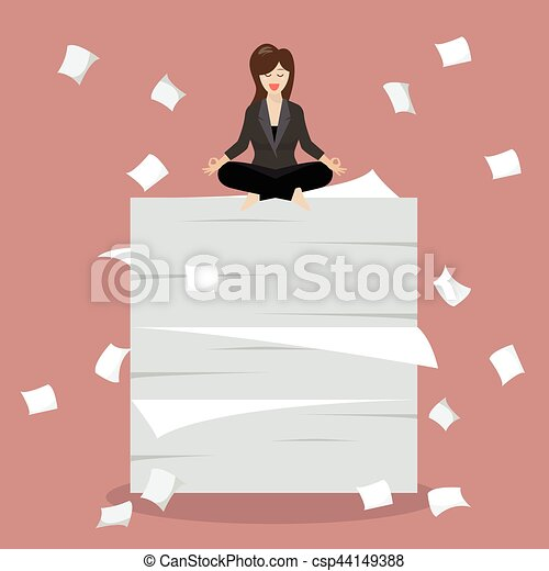 Business woman meditating on a lot of documents - csp44149388