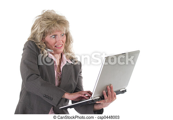Business Woman Multitasking With Cellphone and Laptop 4 - csp0448003