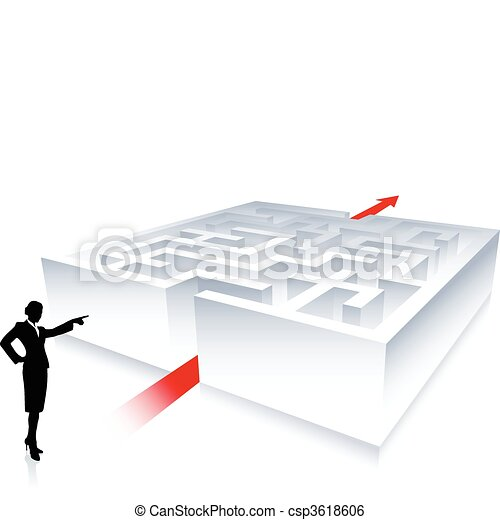 Business woman on background with maze - csp3618606