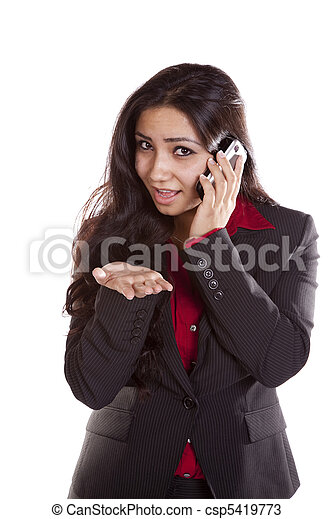 Business woman on phone explaining - csp5419773