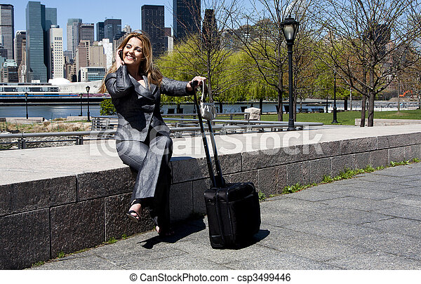Business woman on phone - csp3499446