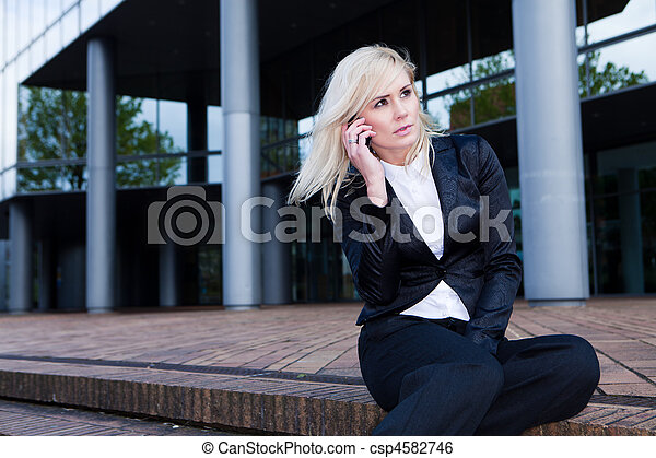 business woman on the phone  - csp4582746