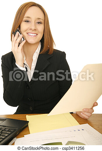 Business Woman On The Phone With Report - csp3411256