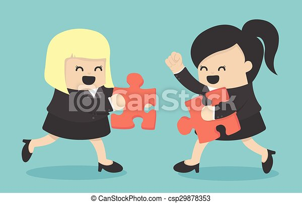 Business Woman people and puzzles,teamwork - csp29878353