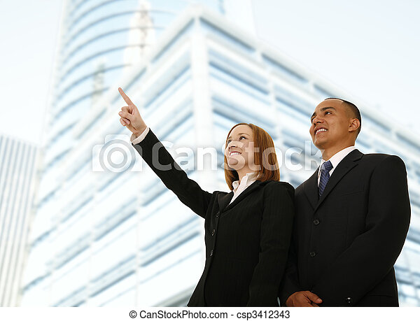 Business Woman Pointing At Something - csp3412343